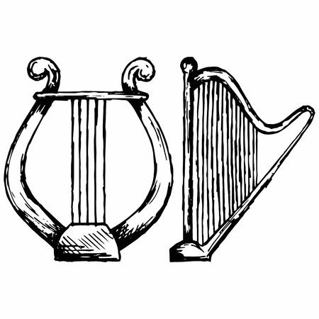 teatro antiguo: Ilustración de estilo de dibujo lira