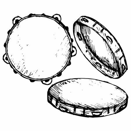 scratchy: Tambourine with nobody holding doodle style Illustration