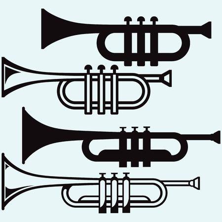 fagot: Trąbka instrument muzyczny samodzielnie na niebieskim tle