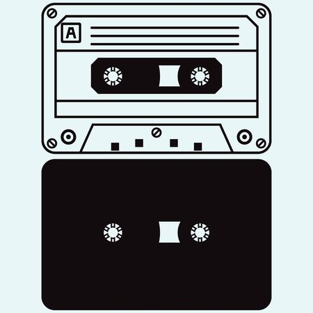magnetic clip: Cassette tape isolated on blue background Illustration