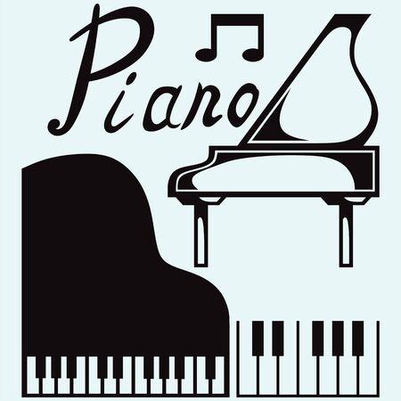 그랜드 피아노는 파란색 배경에 고립 스톡 콘텐츠 - 63112033