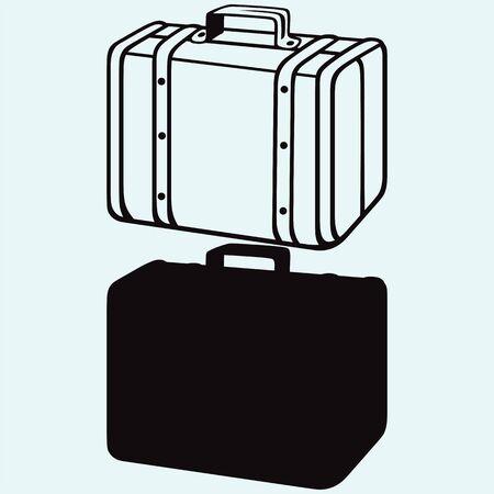 파란색 배경에 고립 된 여행 가방 스톡 콘텐츠 - 63112241