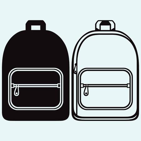 파란색 배경에 고립 된 학교 가방