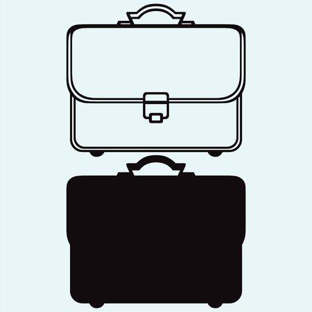 비즈니스 서류 가방은 파란색 배경에 고립 스톡 콘텐츠 - 63112245