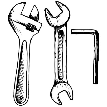 adjustable: Adjustable wrench and spanner illustration in doodle style
