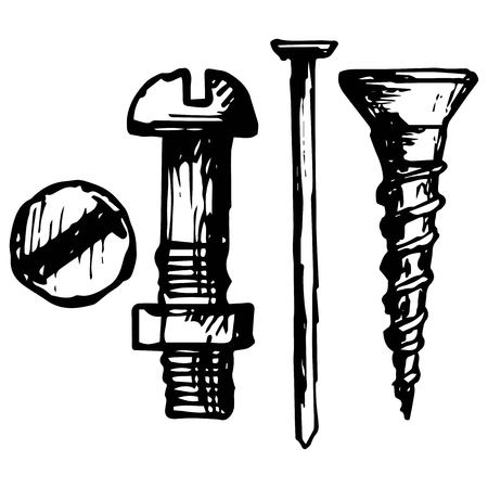 Set bolt, nail and nut illustration in doodle style Illustration