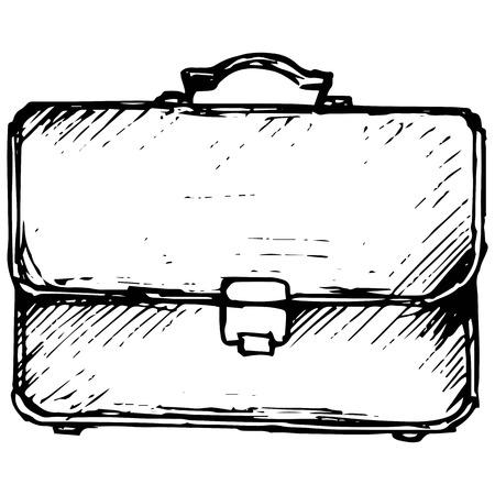satchel: Business bag illustration in doodle style