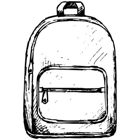 School backpack illustration in doodle style Vectores