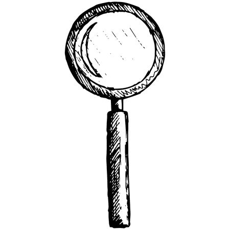 lupe: Magnifying glass illustration in doodle style Illustration