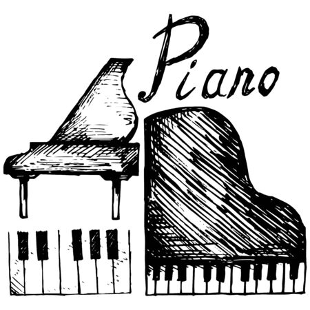 pianoforte: Set piano illustration in doodle style