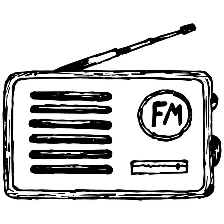 receiver: Old radio receiver illustration in doodle style Illustration