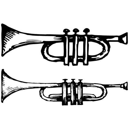 Trumpet musical instrument illustration in doodle style Illustration
