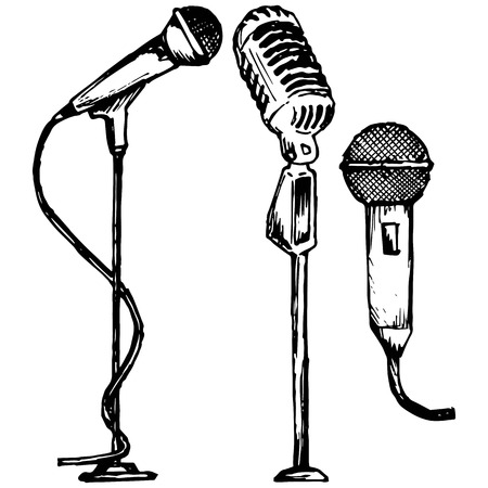 voices: Set microphone illustration in doodle style
