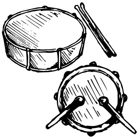 snare: Drum set illustration in doodle style