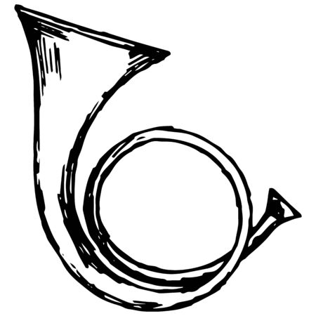 Military trumpet illustration in doodle style