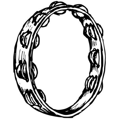 illustrazione Tambourine in stile Doodle