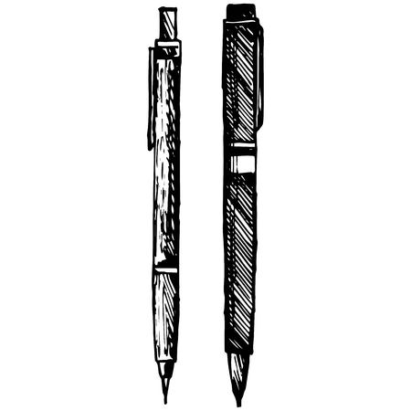 Pencil, pen and fountain pen icons illustration in doodle style