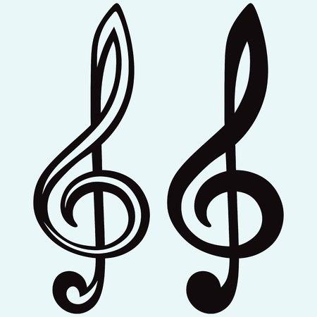 chiave di violino: Treble clef segno isolato su sfondo blu