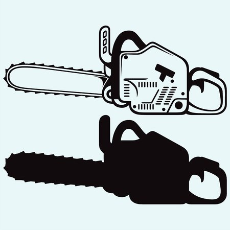 chainsaw: Chainsaw. Isolated on blue background.