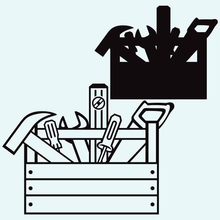 도구가있는 도구 상자. 파란색 배경에 고립 스톡 콘텐츠 - 64446164