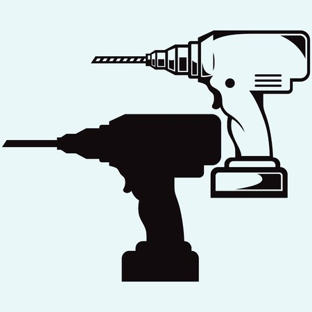 impact tool: Cordless drill. Isolated on blue background. Illustration