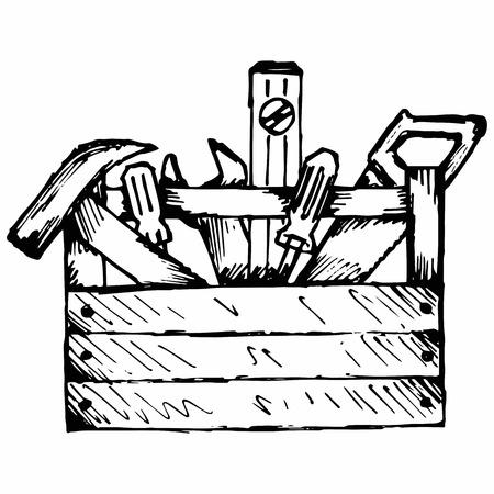 도구가있는 도구 상자. 흰색 배경에 고립. 스톡 콘텐츠 - 64446172