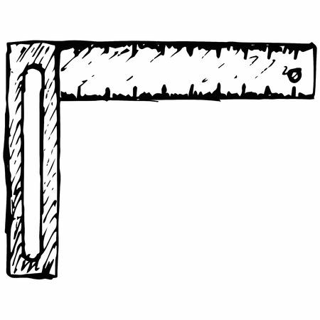 Setsquare symbol. Isolated on white background.