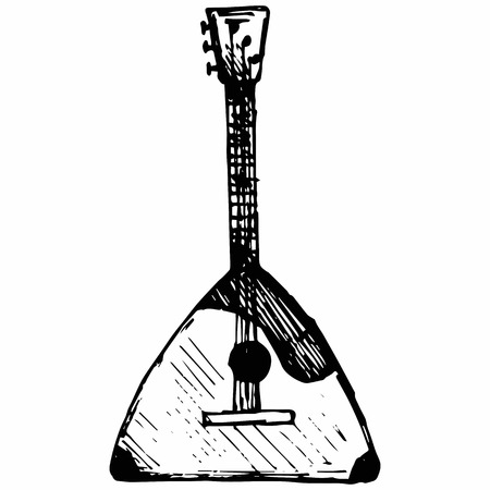 Balalaika, Musical string instrument. Isolated on white background.