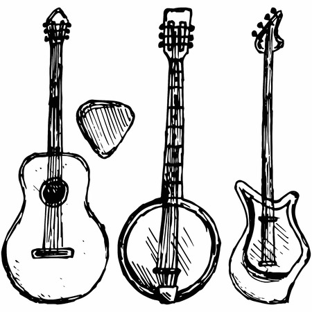 country music: Guitar plectrum, guitar and banjo. Isolated on blue background.