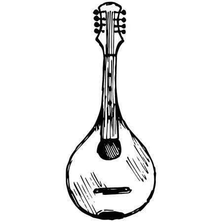Traditional Ukrainian kobza, musical string instrument. Isolated on white background.