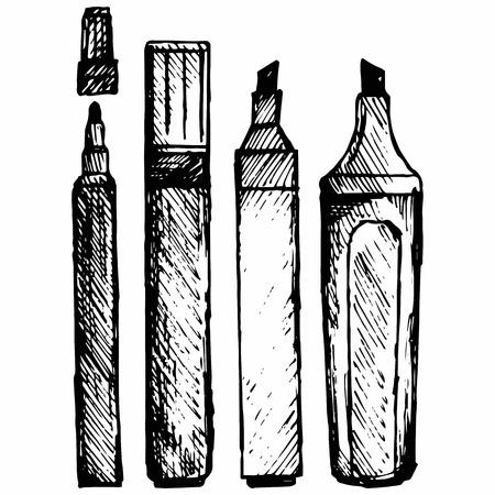 mark pen: Set marker icon. Isolated on white background.