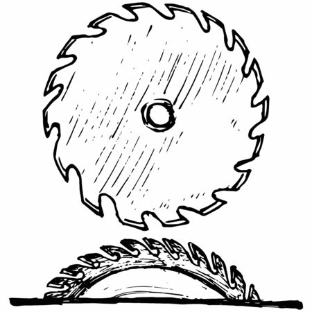 Industrial circular saw disk. Isolated on white background. Vector, doodle style Illustration