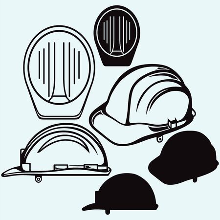 Safety helmet. Isolated on blue background. Vector silhouettes