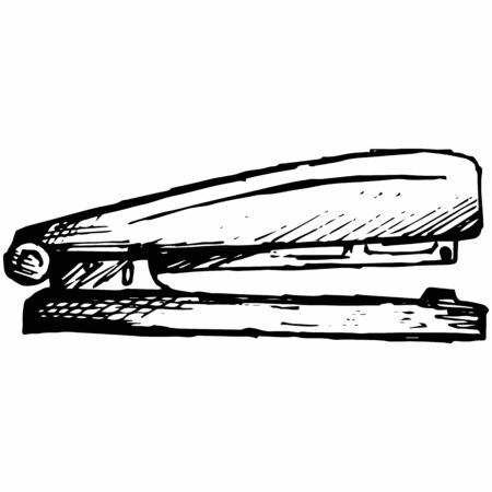 Metal stapler. Isolated on white background. Vector, doodle style