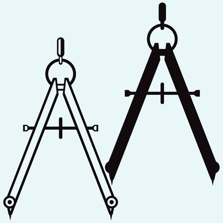 Compass. Tools for drawing. Isolated on blue background. Vector silhouettes