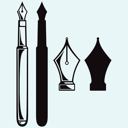 Old ink pen. Isolated on blue background. Vector silhouettes