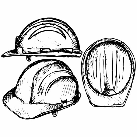 ingeniero caricatura: Safety helmet. Isolated on white background. Vector, doodle style
