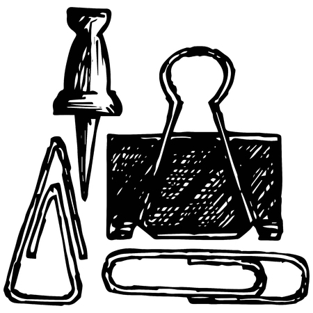 tack: Metal thumb tack and paper clip. Isolated on blue background. Vector silhouettes Illustration