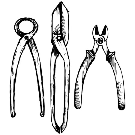 tongs: Nipper. Old used iron cutting pliers tongs. Shears for cutting sheet metal. Isolated on white background. Vector, doodle style