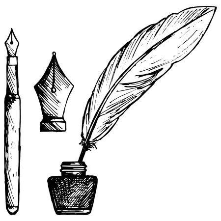 Alte Feder, Tintenfaß und alte Tintenstift. Isoliert auf weißem Hintergrund. Vektor, Gekritzelart