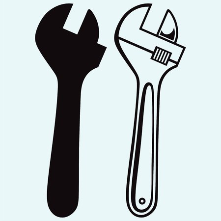 Adjustable wrench. Isolated on blue background. Vector silhouettes