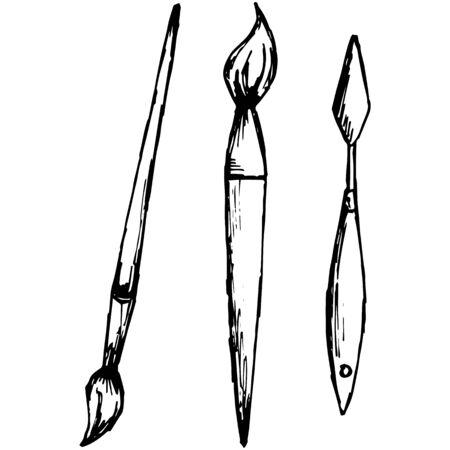 Professional brushes. Isolated on white background. Vector, doodle style