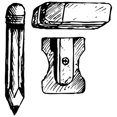 sharpening: Eraser, pencil with eraser and sharpener. Isolated on white background. Vector, doodle style