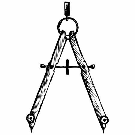 compas de dibujo: Brújula. Herramientas para el dibujo. Aislado en el fondo blanco. Vector, estilo de dibujo