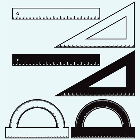 plotting: Wooden rulers and triangles set. Isolated on white background. Vector, doodle style Illustration