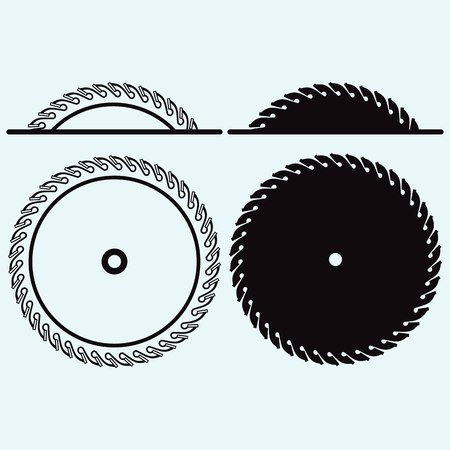 Industrial circular saw disk. Isolated on blue background. Vector silhouettes