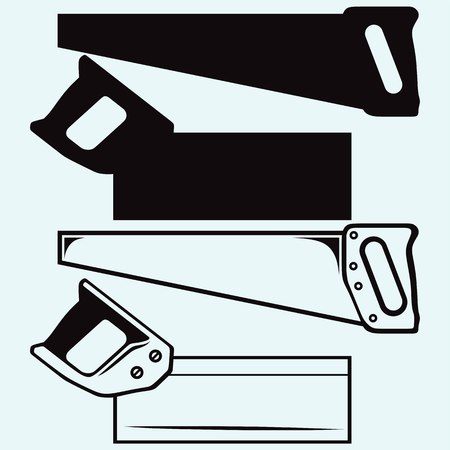 Hand saw. Isolated on blue background. Vector silhouettes