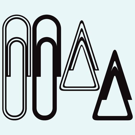 Paper clip. Isolated on blue background. Vector silhouettes Illustration