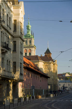 arsenal: Town Arsenal and Kornyakts tower in Lviv Stock Photo