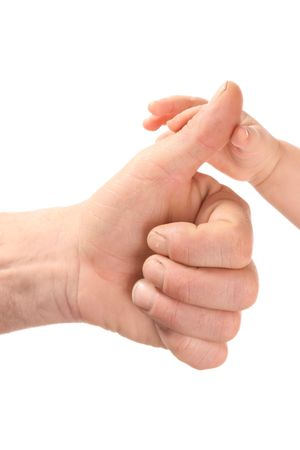 Masculine and child's hand on a white background. Stock Photo - 2426139